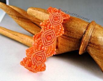 Orange Sherbet Micro Macrame Bracelet Summer Tangerine