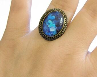 Ring, Baroque, Bronze, (blue)