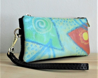 Hand Painted Abstract Art Wristlet Clutch Bag Purse Handbag