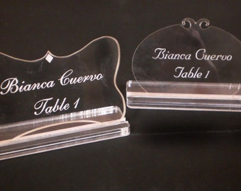 Place Cards - SHAPES - acrylic - engraved