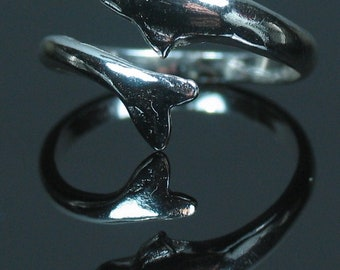 Sterling Silver Dolphin Ring shank setting Adjustable Ring Size 263-308