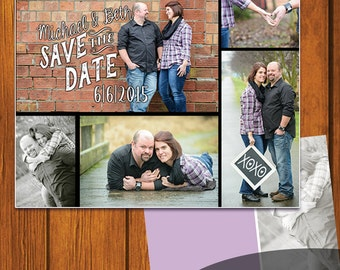 Save The Date Postcard / Postcard Save the Date Postcard 5.5x4.25 / Collage Save the date / Rustic / Chalkboard / double sided postcard