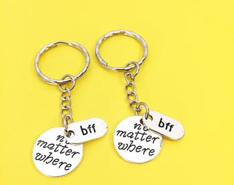 Set Of 2 Friend Gift, Best Friend Keychains set of 2 BFF charm no matter where BFF personalized initial keychain,friendship gift for BFF