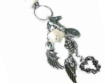 Guardian Angel Wings charm tassel necklace with lucite flower Silver
