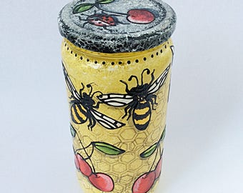 yellow bees, cherries, and ladybugs hand  painted glass recycled jar