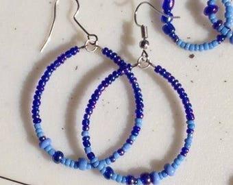 Large Loop Style Beaded Earrings
