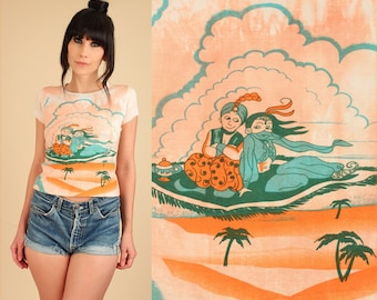ViNtAgE 70's Magic Carpet Ride T-Shirt Cropped Tie Dye Clouds Genie Crop Top TShirt xs/s