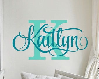 Girls Name Decal with Initial Personalized Monogram Wall Decal Bedroom Wall Decor Nursery Vinyl Lettering 6 sizes to choose from 50 colors  sc 1 st  Etsy & Name Wall Decal Girl Name Wall Decal Boy Name by vgwalldecals