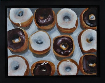 "Doughnut Painting on Canvas, Original Donut Still Life,  9"" x 12"", Free Shipping within USA"
