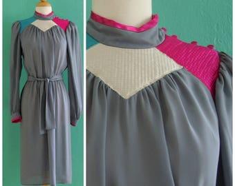 80's grey color block dress //  mock neck georgette dress
