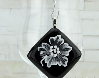 Black Pendant Mainmade Painted, Fusing Glass, Whit or Without Stainless Chain, Several Lengths