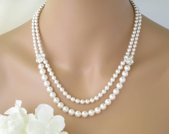 Double strand pearl necklace, Swarovski pearl necklace, Pearl wedding necklace, Rhinestone accent multi strand pearl necklace