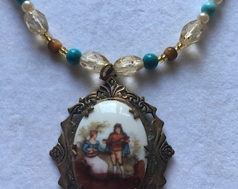 Beautiful Hand Painted Cameo Turquoise Tigers Eye Pearl Crystal Necklace