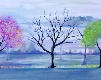 Seasons of Change, 24 x 48, LARGE Original Landscape Painting on Gallery wrapped Canvas, Ready to hang