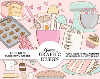 Baking Clipart Set, Bake Sale Clipart, Cookie Clipart, Cupcake Clipart, Pie Clipart, Cake Clipart, Commercial Use Digital Download Art