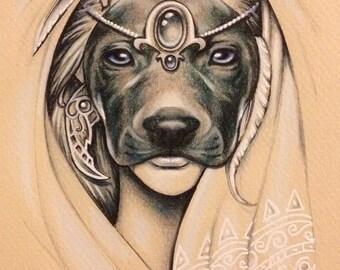 ORIGINAL ARTWORK - 'Bau' - Pencil & Ink Drawing - Kirrily Duff