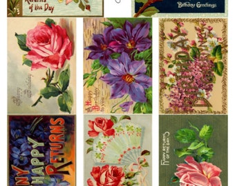 Birthday V1 Collage Sheet, Beautiful Vintage Illustrations, Roses, Flowers - Digital Download JPG File by Swing Shift Designs