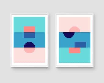Colour block print set, colour block print, minimalist decor, large abstract, bold print, shapes print, abstract geometric, gallery art