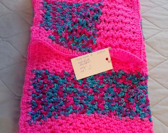 "Loopy Love Stitch Pattern - Crocheted Baby Blanket - 37 1/2 "" X 34""   -  BonBon Print and Pretty n' Pink"