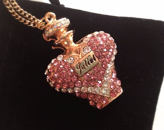 Romantic Pink Heart Perfume Bottle Necklace. Juliet. Pink Crystal Rhinestones. Long Gold Chain. Girly. Valentine's Day. Gifts for Her. Love.