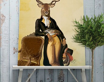 Deer print stag print - Deer and Chair - deer Poster  stag poster deer art print gift for mens gift deer art stag art woodland deer canvas
