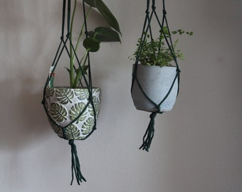 Medium Macrame Plant Hanger / Green Plant Holder / Hanging Planter / Simple Macrame Hanger
