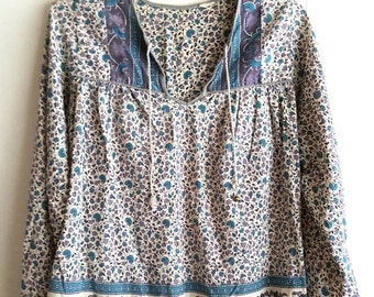 1960's Cotton Dashiki Blouse Size Small -Vintage Clothing- Mothers Day - Birthday Purple/Teal -  Lucky Elephants - Flowers #etsyvintagelover