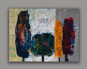 print of modern trees painting,modern design ,contemporary art,israeli art, wall art design print by Ossha