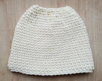 Crochet messy bun hat pattern all sizes
