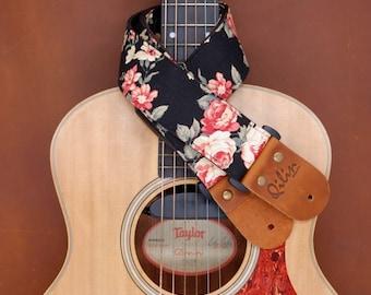 Black Fabric Flower Guitar Strap