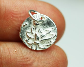 2pcs 925 Sterling Silver Jewellery findings Lotus Charm Beads , 12mm Button - FDSSB0408