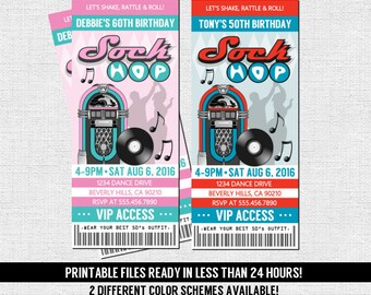 50's TICKET INVITATION Retro Sock Hop Birthday Anniversary Party - Any Age - Dance Fundraiser (print your own) Personalized Printable Files