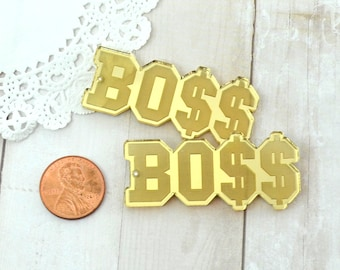 BLING BOSS CHARMS - Gold Mirrored Laser Cut Acrylic