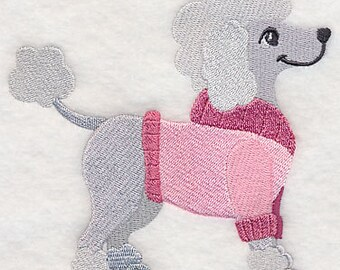 Winter Sweater Poodle Embroidered Flour Sack Hand/Dish Towel