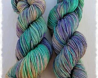 SECRET WOODS Colorway   Hand Dyed Yarn   100g of Superwash Merino and Nylon Blend   DK weight   Green   Purple   Brown