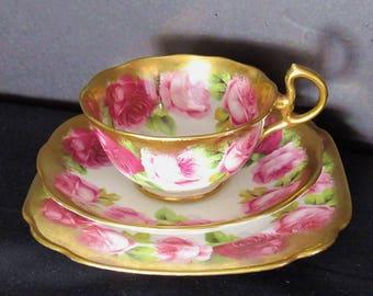 Rare Royal Albert Crown China Old English Rose Trio Doris Teacup,Saucer,BB Plate Exc Cond