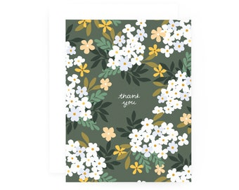 Thank You Cards Set of 8, Illustrated Floral Handmade Fleur Thank You Card Set