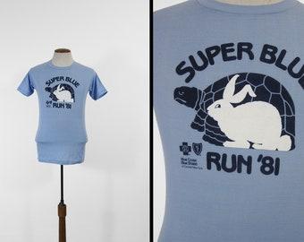 Vintage 1981 Marathon T-shirt Super Blue Central NY Soft and Thin - Small / Medium