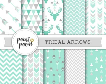 Digital Paper Arrows, Tribal, Mint Green Gray, Arrows Triangles Chevron Antlers Deer Hipster - Commercial Use