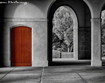 Architecture Art Print, Black & White Archways Photograph, Red, Archival Print,  Building Photo, Architecture Wall Art, Home Deco, Giclee