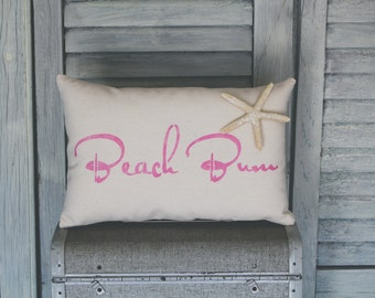 Beach Bum Decorative Pillow, Beach Pillow, Decor Pillow, Simple Pillow burlap pillow 15x10 accent pillow