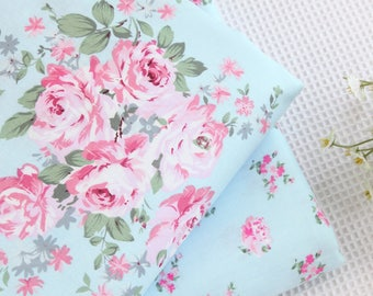 100 cotton vintage floral roses blue fabric bedding sheet table rh etsystudio com buy shabby chic fabric buy shabby chic fabric