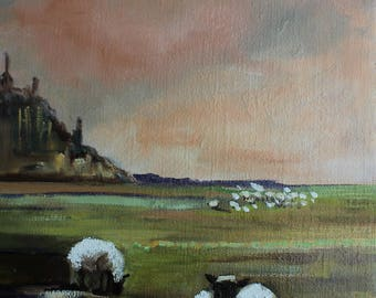 painting of mont st Michel in Normandy oil painting