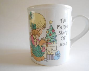 Precious Moments Mug Vintage 1994 Girl Tree Book Tell Me The Story Of Jesus Porcelain Mug Enesco China Christmas Mug Coffee Cup Coffee Mug