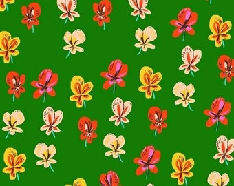 SLEEPING PORCH - Green Pansies - by Heather Ross for Windham Fabrics - Cotton Lawn - 42206-7