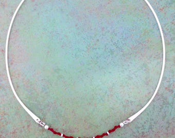 Sterling RAHAB-Neckring/Knotted Scarlet Cord