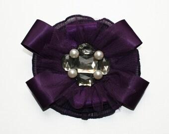 Purple Chiffon Brooch, Purple Fascinator, Purple Chiffon Ribbon Pearl and Diamante Brooch / Hair Clip, Purple Wedding Accessory
