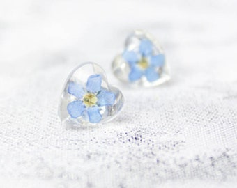 blue small jewelry for mother forget me not real flower forget-me-not botanical heart stud earrings for daughter resin Кю43