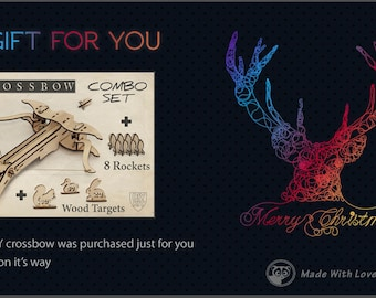 Toy wooden crossbow etsy gift card last minute gift gift for husband gift for boyfriend diy solutioingenieria