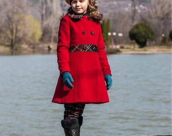 Girls' woolen coat, Girls' wool coat winter, color red, girls' clothing, outwear for kids